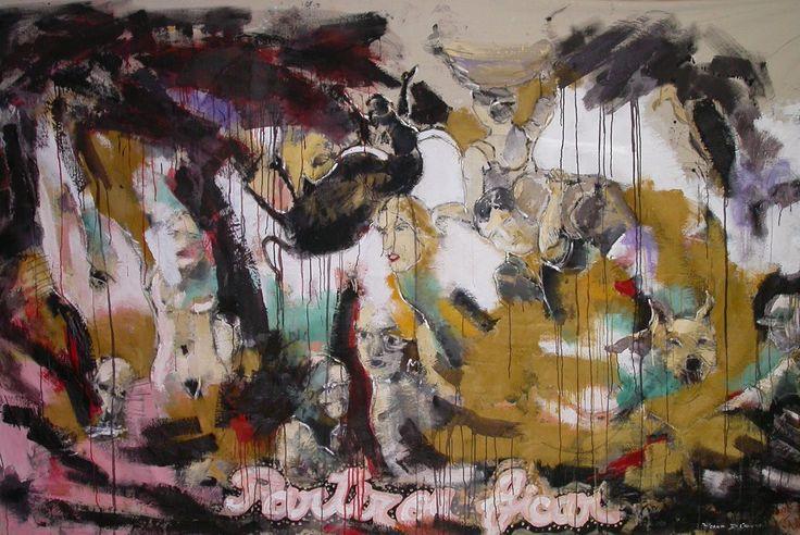 Partir ou ficar, original Big Canvas Painting by Ricardo de Campos