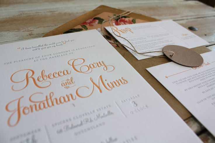 1 Colour Letterpress Invitation for Rebecca and Jonathan. Designed by Georgia Mather Design under the direction of Little Peach Co.