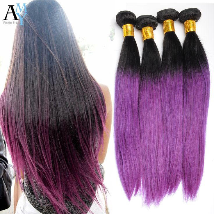 25 beautiful purple hair extensions ideas on pinterest colored 1b purple brazilian ombre human hair extensions ombre balck and purple hair weave straight 3 bundles 10 26 inch for just 10400 pmusecretfo Images