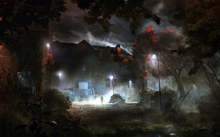 Download 2560x1600 rain, house, wood, lightning, sign, silhouette Wallpaper Widescreen WallpapeprsCraft
