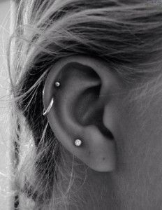 Triple Lobe Piercings Double Cartilage Piercings Studs and Ring