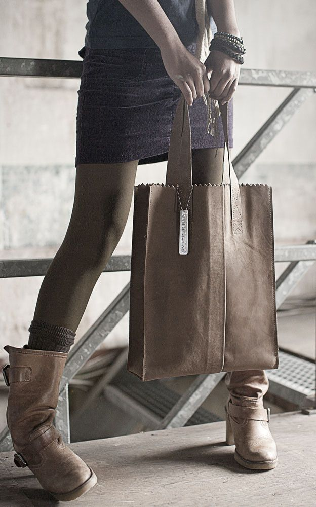 """Java Leather Tote Bag Paper Bag Street Style Casual Sophistication #fashion #accessories"""