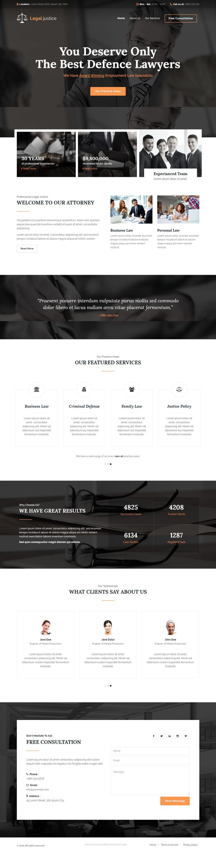 Legal justice is a stunning HTML5 Template – to make the best impression on current and future clients. It is perfect for lawyers, law firms, attorneys, consultants, legal corporations, legal Advisers, justice corporations, agents and for any legal and law related businesses. website Chose WebsitesYES.com for your design needs.