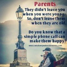 Love your parents. We are so busy growing up, we often forget they are also growing old. Do you feel like your parents are not involved in your life as much? Do you feel like you are pushing them away? The reason is they are growing old... Sometimes you have to realise your parents are getting old and weak and they cannot function the way they used to. Maybe you have moved on in life, but this doesn't mean you forget the people that have raised you maybe it's time for you to raise them.