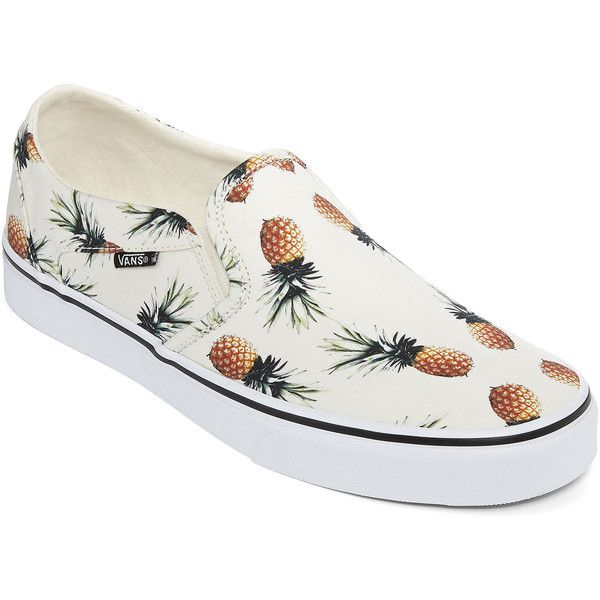 Vans Womens Asher Pineapple Print Sneakers (56 CAD) ❤ liked on Polyvore featuring shoes, sneakers, flats, slip on sneakers, pineapple shoes, vans flats, flat shoes and slip-on sneakers
