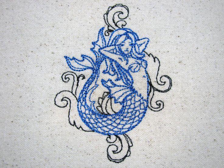 Reusable Food-Safe Embroidered Sandwich Bag - Mermaid Tattoo