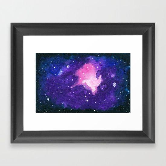 Sanctuary, Nebula Galaxy Stars Watercolor Framed Art Print