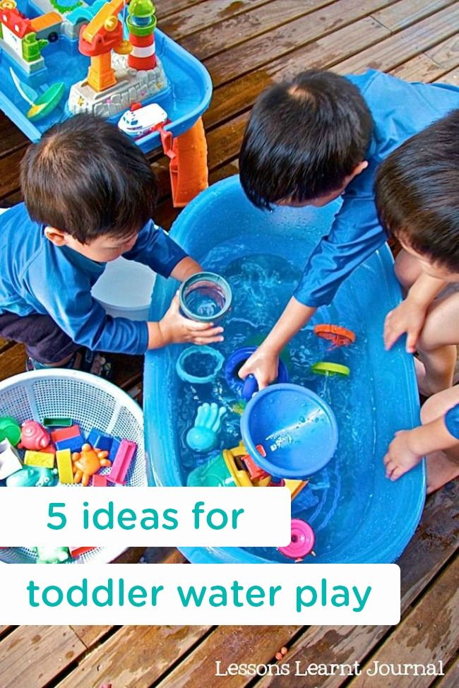 These 5 ideas for toddler water play may be a fun activity for your little ones to enjoy on a hot summer day. By using items you already have in the house to splish and splash, your kids may have hours of fun!