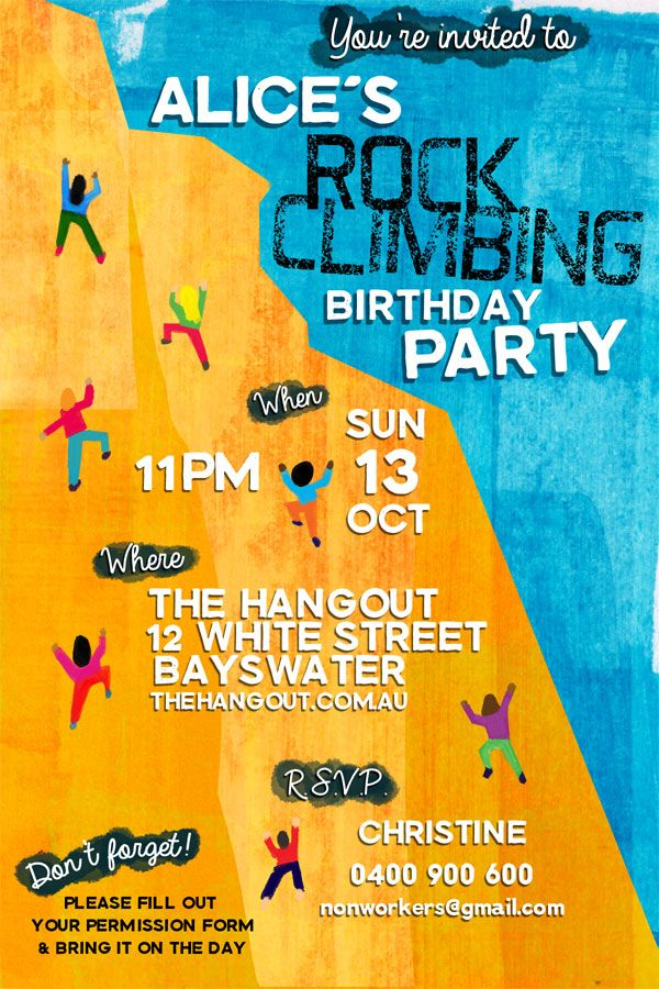 Cool rock climbing invite from nonworkers https://www.etsy.com/au/listing/206808218/customized-rock-climbing-party