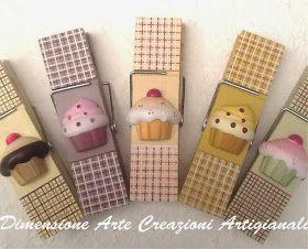 Dimensione Arte.....Creazioni Artigianali: Mollettoni e Post-it.....Cup Cake