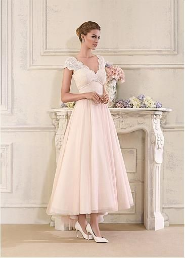 Stunning Tulle & Satin V-Neck A-Line Ankle-length Wedding Dresses With Lace Appliques