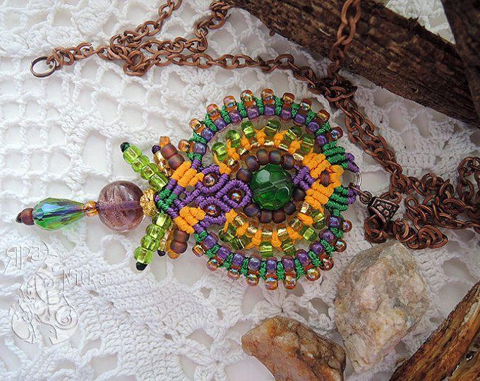 Boho Collier pendentif en macramé femmes gitane collier cadeau idées de cadeaux ici Hippie Tribal cadeau pour cadeau d'anniversaire de petite amie la Saint-Valentin