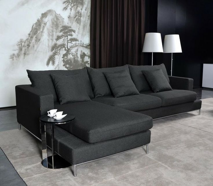 Tosh Furniture 2 Pc Modern Dark Grey Fabric Sectional Tos Anm9860