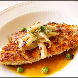coconut crusted tilapia with a tangy pineapple-curry sauce
