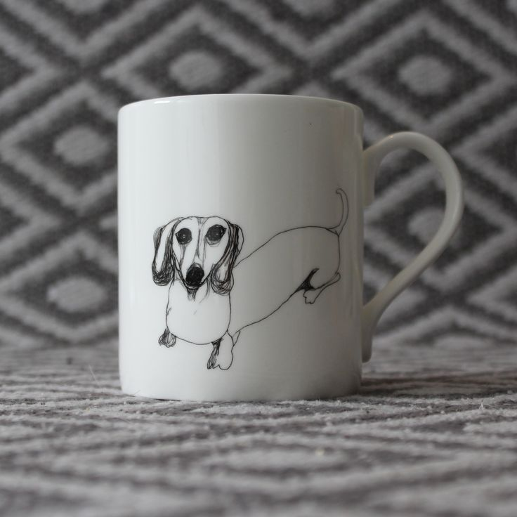 Bone china Sausage Dog mug by Nadia Sparham. Designed and made in the UK.