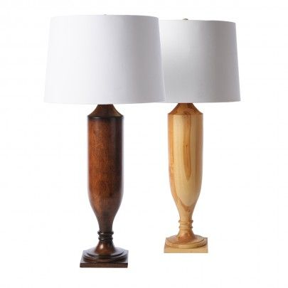 The estate table lamp is available in stained or unfinished wood accepts 150w max bulb