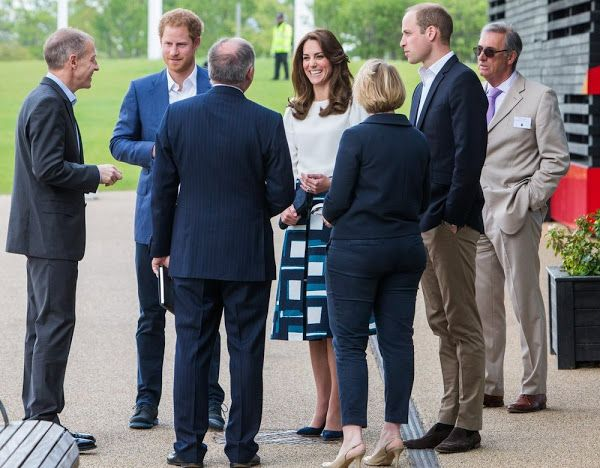 16 May 2016 - Harry, Kate and William launch mental health campaign at Queen Elizabeth Olympic - blouse by Goat, skirt by Banana Republic, shoes by Rupert Sanderson