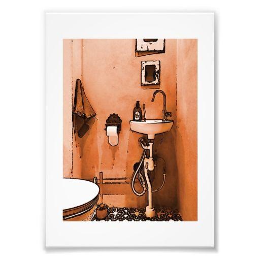 Funky Peachy Bathroom Photographic Print