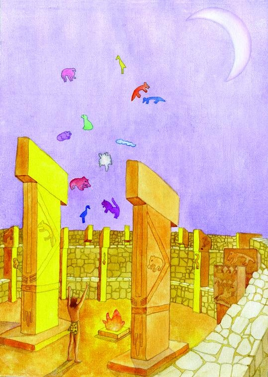 Göbekli Tepe, disegno di Roberto Bixio (2012, olio e acrilico su tela, cm. 36x25)