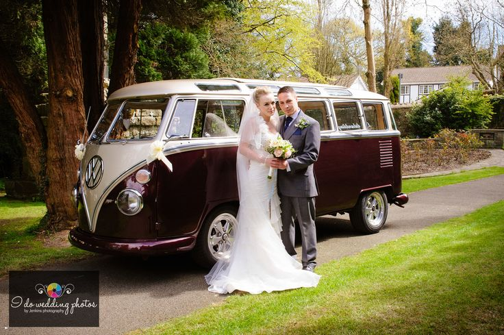 """Bride & Groom with VW camper in Clyne Chapel Swansea.  by Andrew """"Jenkins photography"""""""
