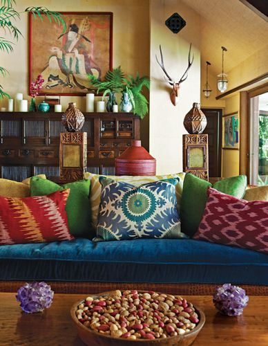 blue-velvet-sofa-Martyn-Lawrence-Bullard-ikat. I completely fell in love with this. I like colors. I love vibrancy. This was brilliant.