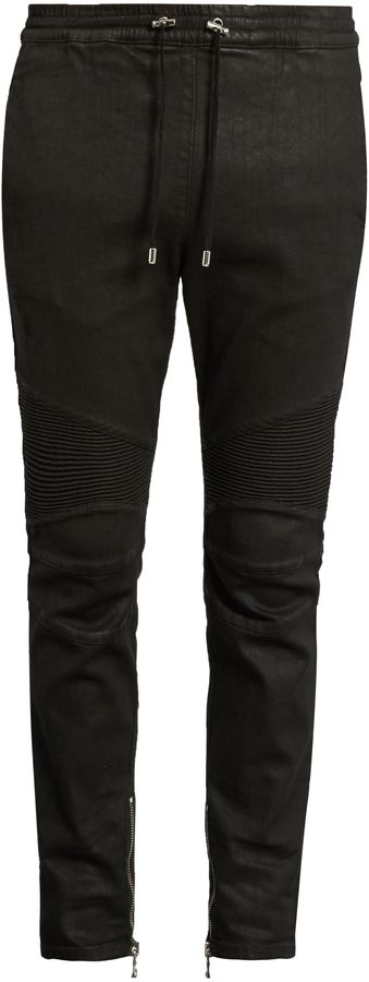BALMAIN Biker slim-leg wax-effect cotton-blend track pants