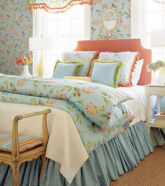 cottage coral and blue bedding