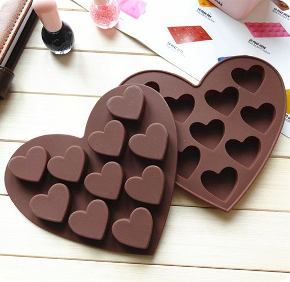 Make your own chocolate hearts! Hearts Silicone Chocolate Mold Heart Flexible Silicone by Ferkl, $3.99