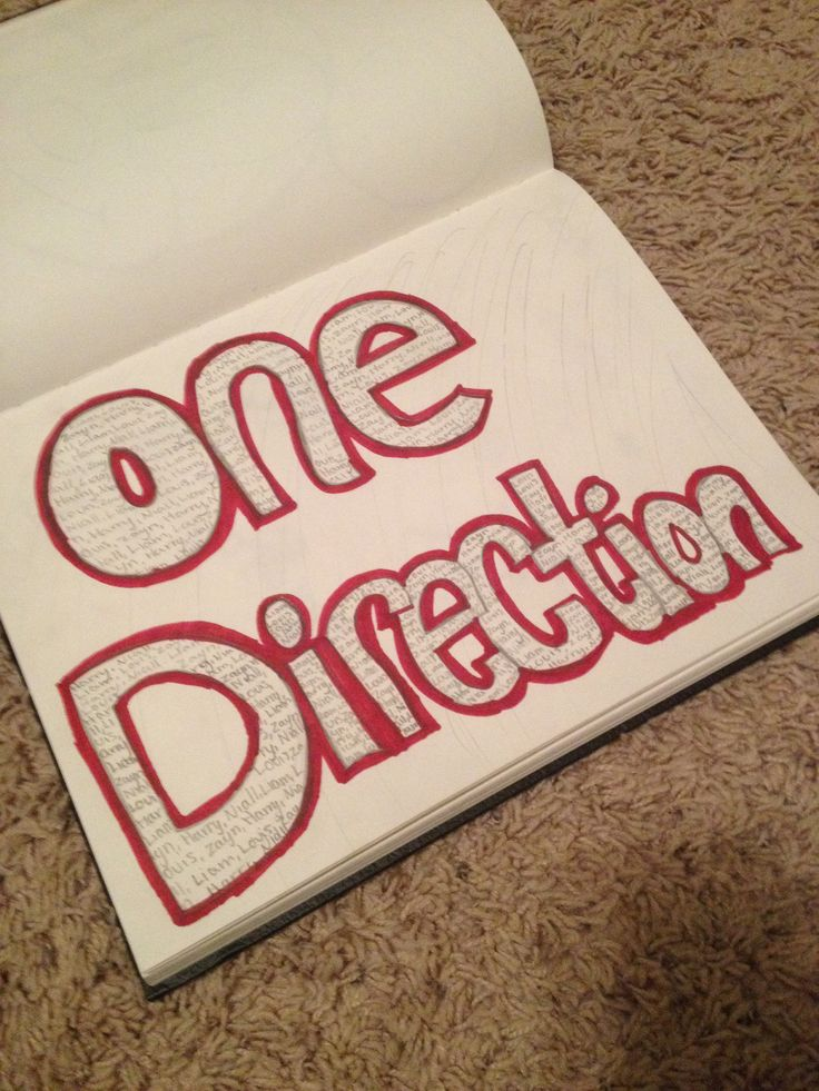 One direction bubble letters with all the band members names in side.