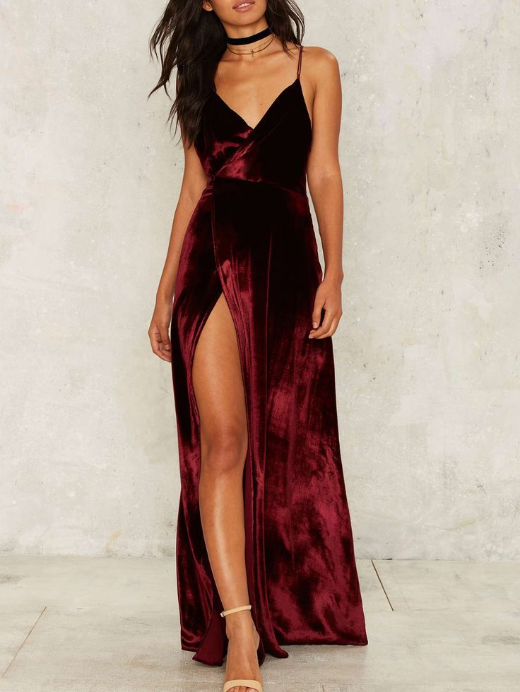 Sexy Straps Burgundy Velvet Party Dress with Slit