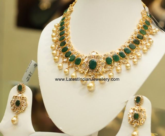 Oval Green Emerald Polki Necklace