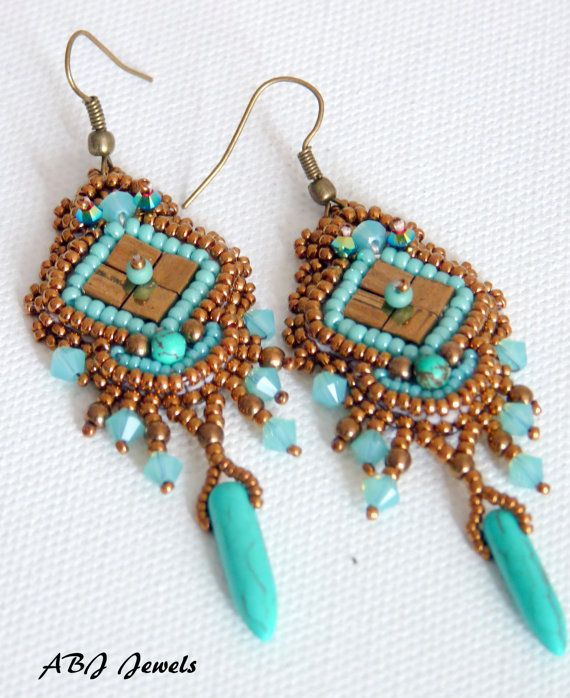 Earrings embroidered ithaca by allbyjo on etsy
