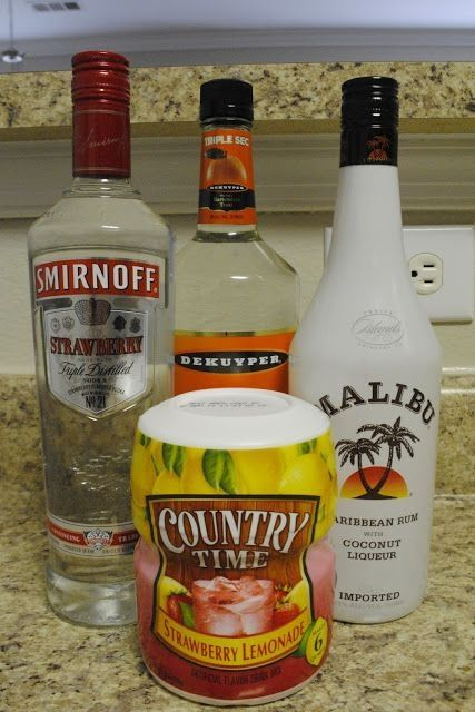 Makes one full pitcher: 1/3 cup Triple Sec 1/3 cup Malibu 1 cup Strawberry Vodka 1/2 cap of Country Time Strawberry Lemonade Powder  1. Measure half a tops worth of the lemonade powder and add to your pitcher.  2. Measure all the alcohols, and add to the lemonade powder mix.  3. Top off the remainder of the pitcher with about 2 quarts of water (or until the container is filled).  4. Mix well until everything is dissolved. Chill and serve. by lucinda