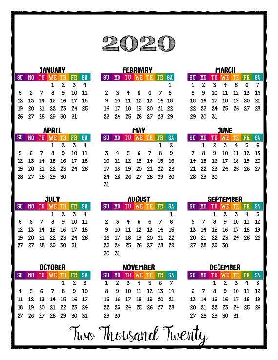 Calendario Snoopy 2020.2020 Printable Caribbean Color Calendar 2020 Wall Calendar