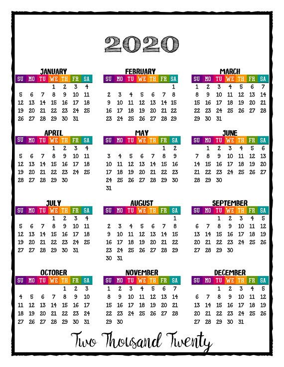 Full Year Calendar 2020 2020 PRINTABLE Caribbean Color Calendar 2020 Wall Calendar   Full