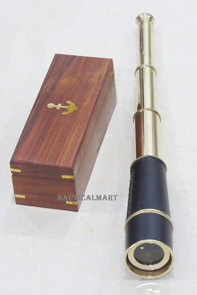 Handmade Nautical Shiny Brass//Leather Telescop Vinatge Hardwood Box