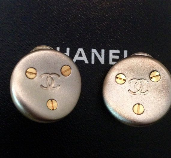 Chanel earrings CC silver and gold clip on earrings by NUKOBRANDS