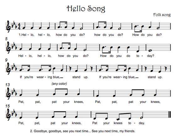 Kindergarten Hello / Name Songs & Voices - Beth's Notes