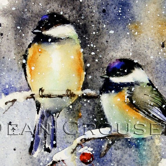 WINTER CHICKADEE Watercolor Print by Dean Crouser on Etsy, $25.00