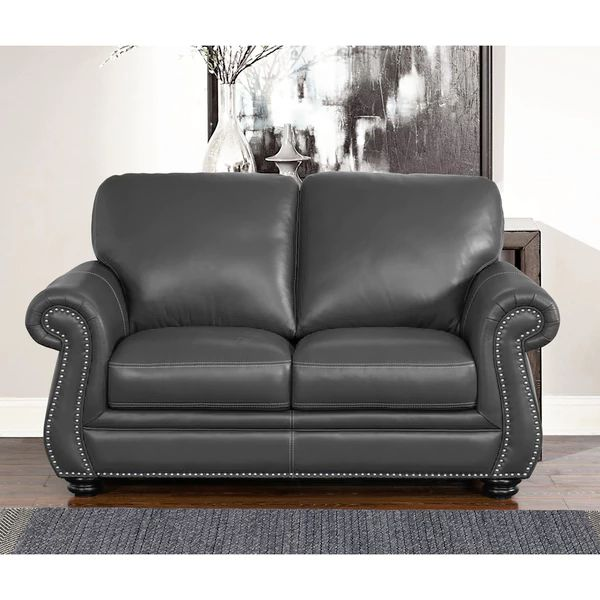 NEW ARRIVAL: ABBYSON LIVING Kassidy Grey Leather Loveseat. This Collection  Features Our Trademarked Luxury