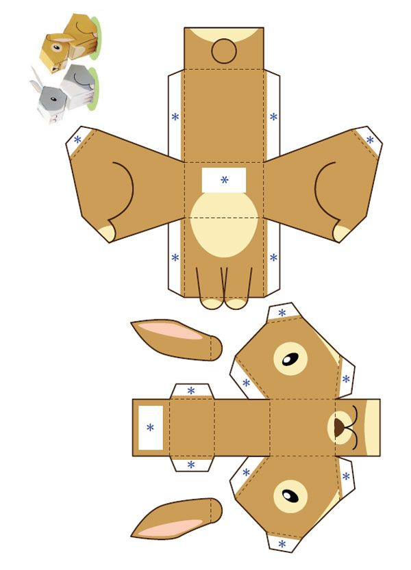 Image detail for -612 lapin paper toy template Petit lapin marron