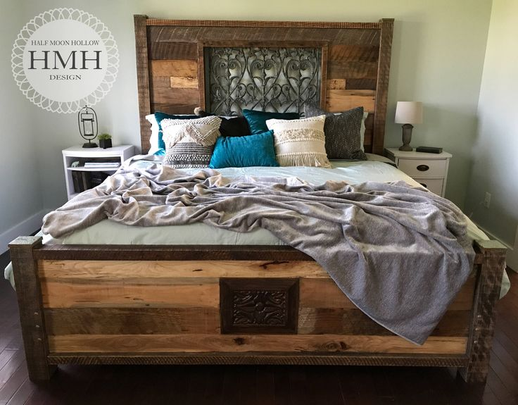 King Size Bed Eclectic Reclaimed Wood Mediterranean Farmhouse Bed Frame  Bohemian Headboard And Footboard By Halfmoonhollowdesign
