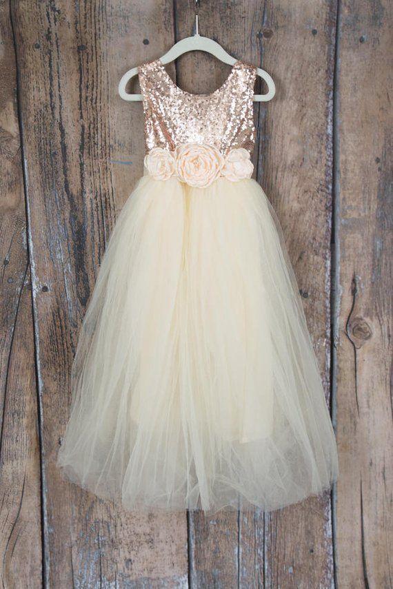 eb5322005b Cream Flower Girl Dress Rose Gold Sequin Top Floor Length