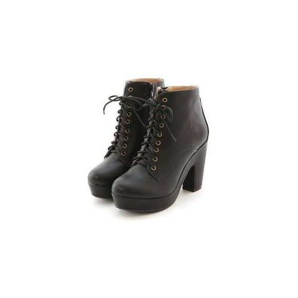 Faux-Leather Platform Chunkly-Heel Boots ($137) ❤ liked on Polyvore featuring shoes, boots, heels, botas, footware, chunky heel boots, mid-calf boots, black platform boots, black heel boots and vegan boots