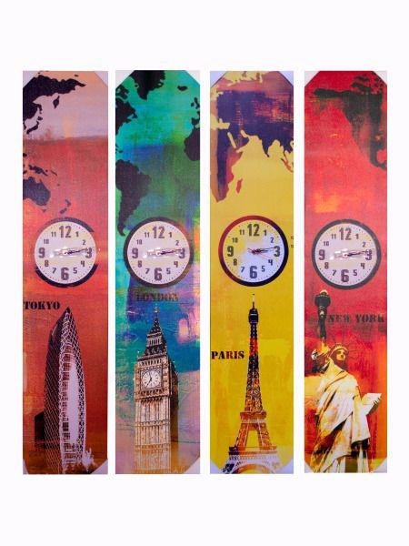 OC204-Bulk Buys OC204 55 X 12 World Landmark Canvas Wrap Art With Clock Buy It In Bulk - Bringing the Warehouse Club experience straight to your door