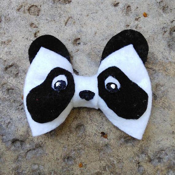 Panda Hair Bow Animal Bows Hair Clip Clip On Bow Tie Teen