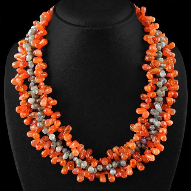 Genuine 785.00 Cts Orange Carnelian & Labradorite 3 Lines Beads Necklac