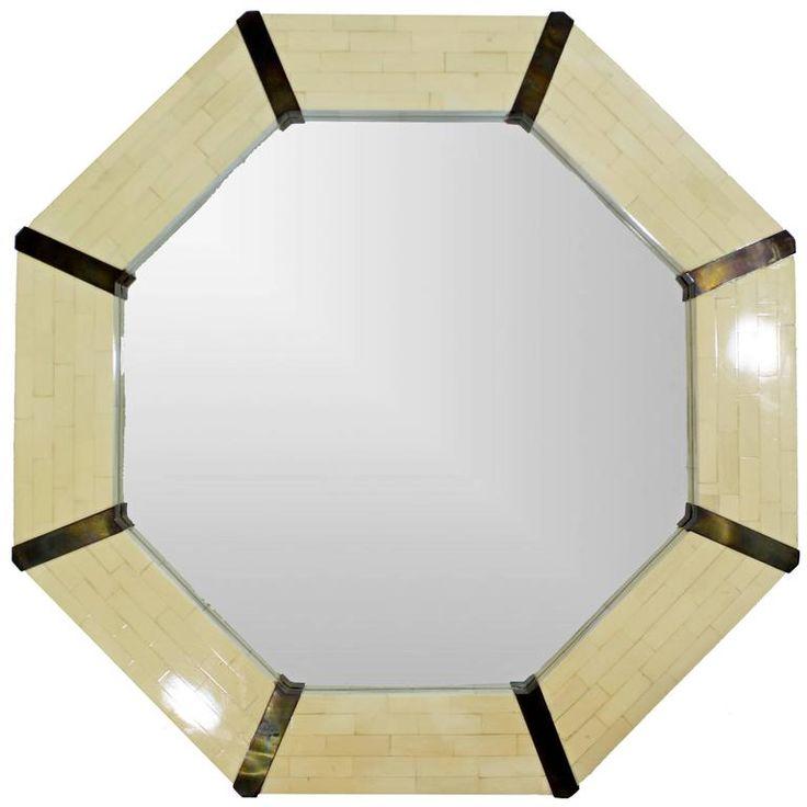 Mid-Century Modern Tessellated Bone & Brass Octagon Mirror, 1970s Springer Style For Sale