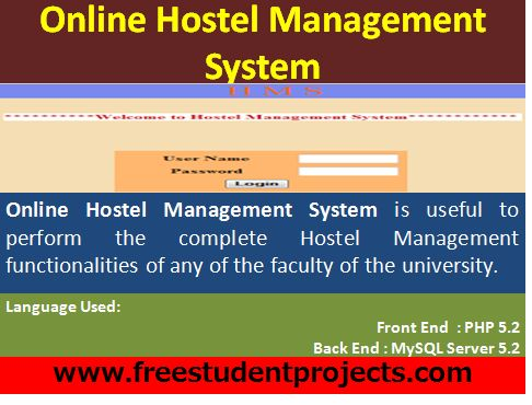 hostel management system Download hostel management system for free a project on hostel management system using apache server and mysql 55 developed for my term project.