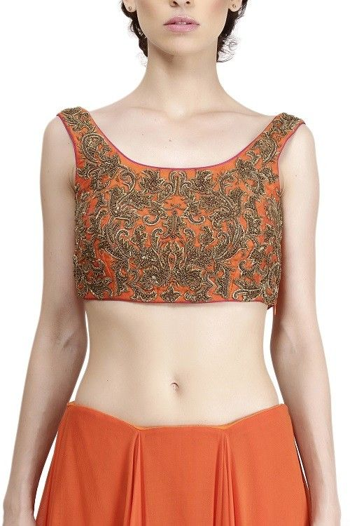Orange A-Symmetrical Lehenga With Sequence Embroidery Choli